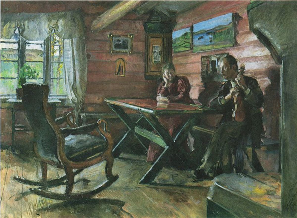 This painting of Kolbotnstua (1896), a farm belonging to Backer's friends Hulda Garborg and Arne Garborg,  is in the public domain in the United States and those countries with a copyright term of life of the author plus 70 years or less.