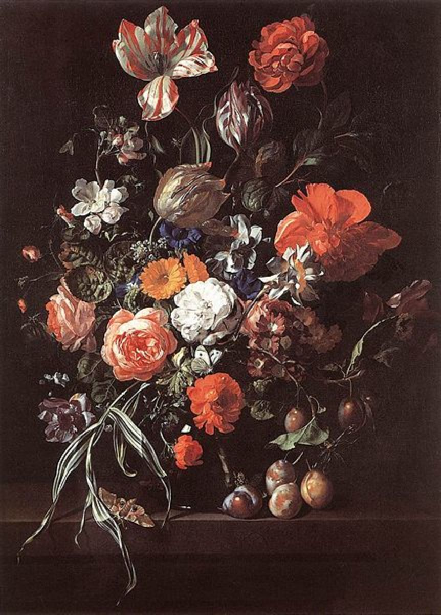 Still-Life with Bouquet of Flowers and Plums is in the public domain in the United States and those countries with a copyright term of life of the author plus 100 years or less.