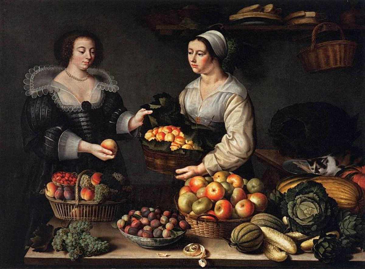The Fruit and Vegetable Costermonger (1631) is in the public domain in the United States and those countries with a copyright term of life of the author plus 100 years or less.