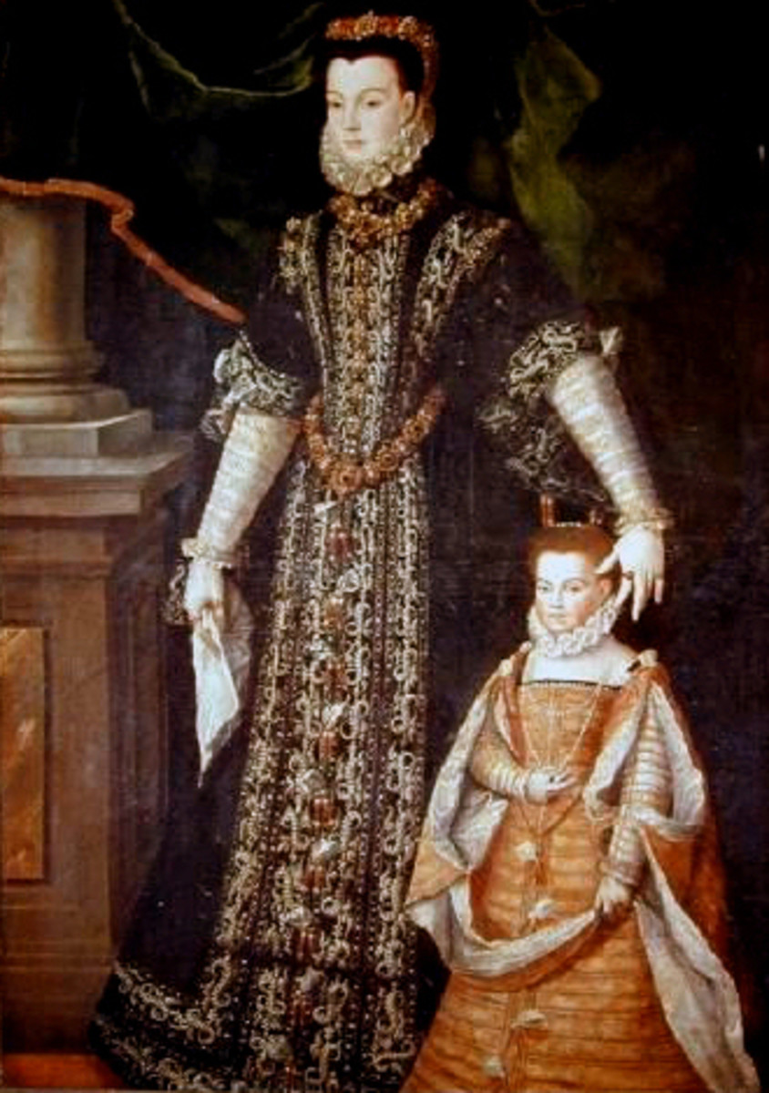 Portrait of Diane d'Andouins and her Daughter (1565) is in the public domain in the United States and those countries with a copyright term of life of the author plus 100 years or less.