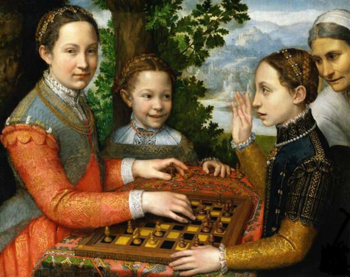 The Chess Game (1555), a portrait of the artist's sisters playing chess, is in the public domain in the United States and those countries with a copyright term of life of the author plus 100 years or less.