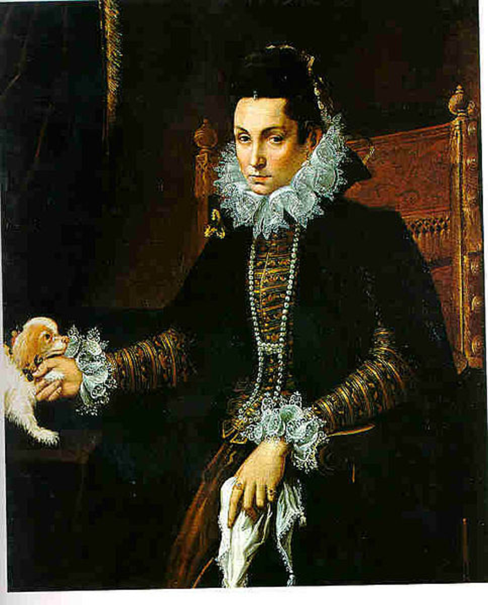 Portrait of a Lady with a Lap Dog (1590s) is in the public domain in the United States and those countries with a copyright term of life of the author plus 100 years or less.