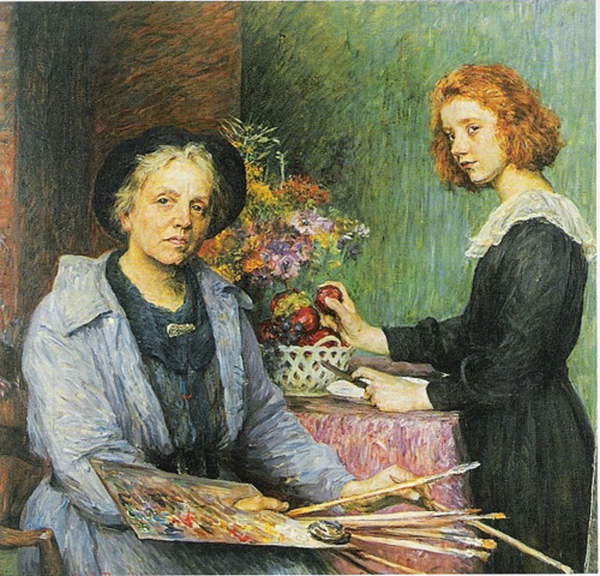 The Artist and her Model Geneva (1910) is in the public domain in the United States and those countries with a copyright term of life of the author plus 70 years or less.