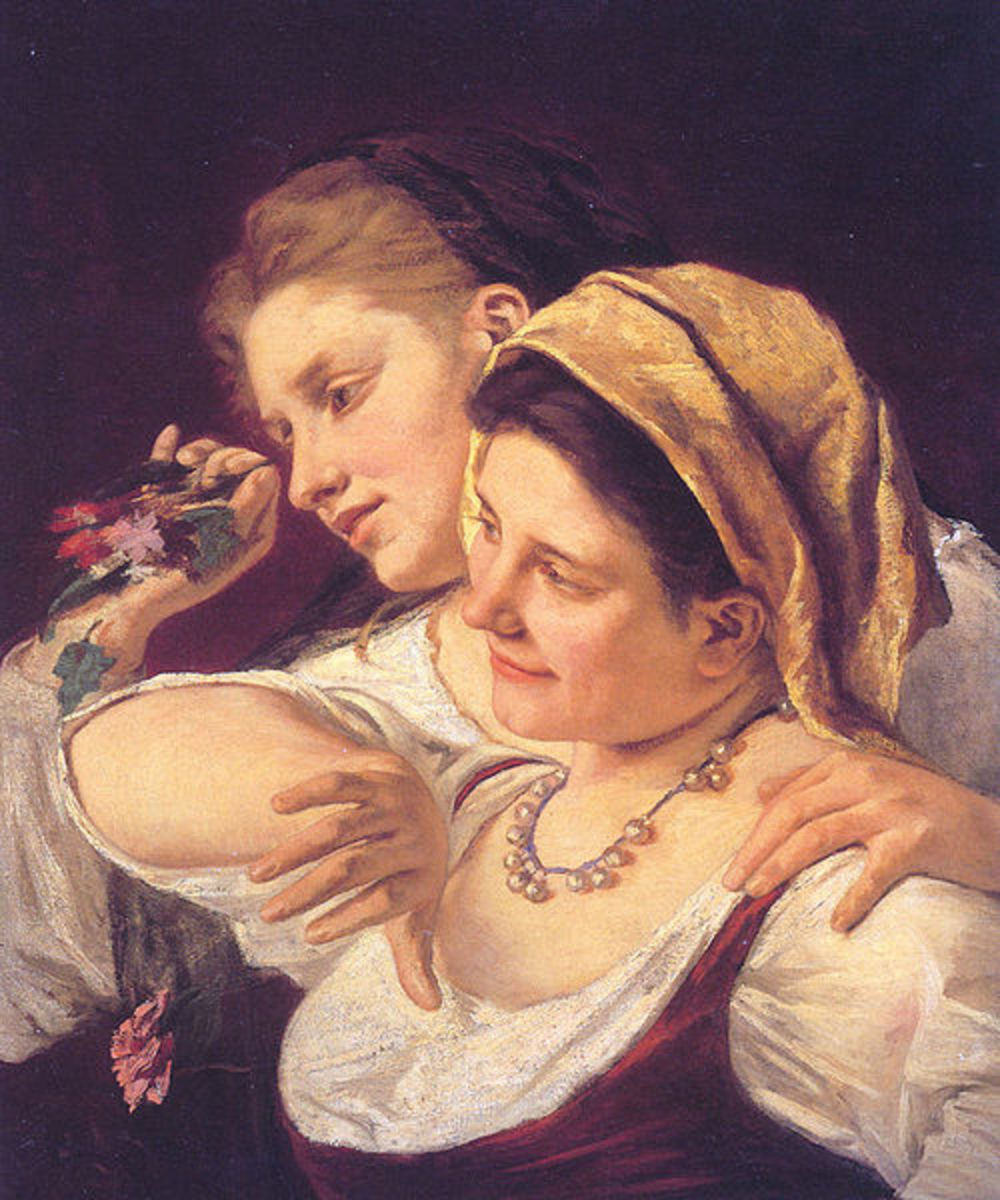 Two Women Throwing Flowers (1872) is in the public domain in the United States and those countries with a copyright term of life of the author plus 70 years or less.