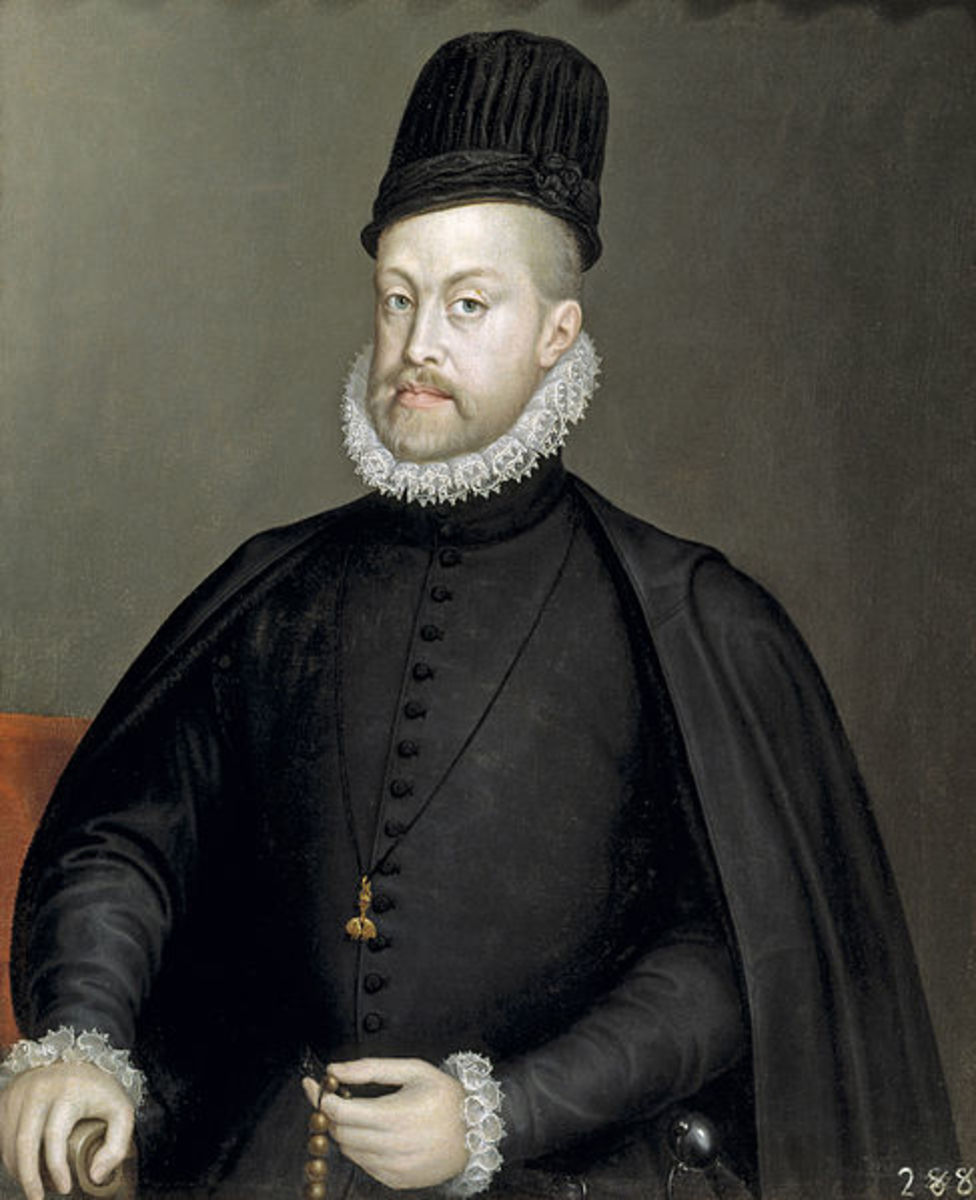 This portrait of Philip II of Spain is in the public domain in the United States and those countries with a copyright term of life of the author plus 100 years or less.
