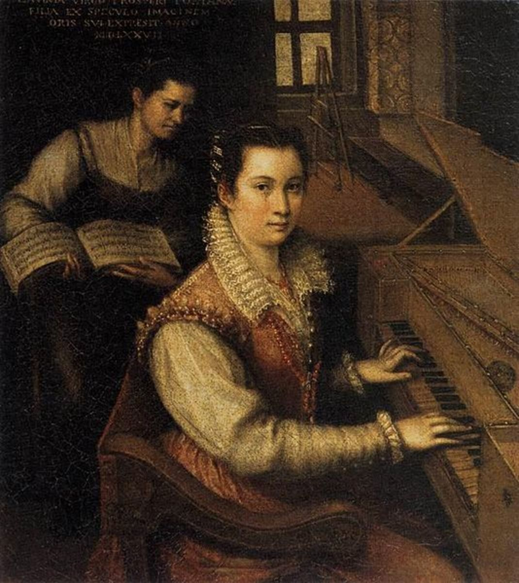 Self-Portrait at the Spinet (1577) is in the public domain in the United States and those countries with a copyright term of life of the author plus 100 years or less.