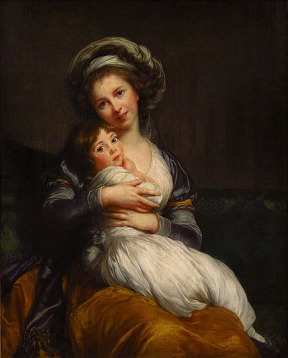 Self-Portrait with Daughter Julie (1786) is in the public domain in the United States and those countries with a copyright term of life of the author plus 100 years or less.