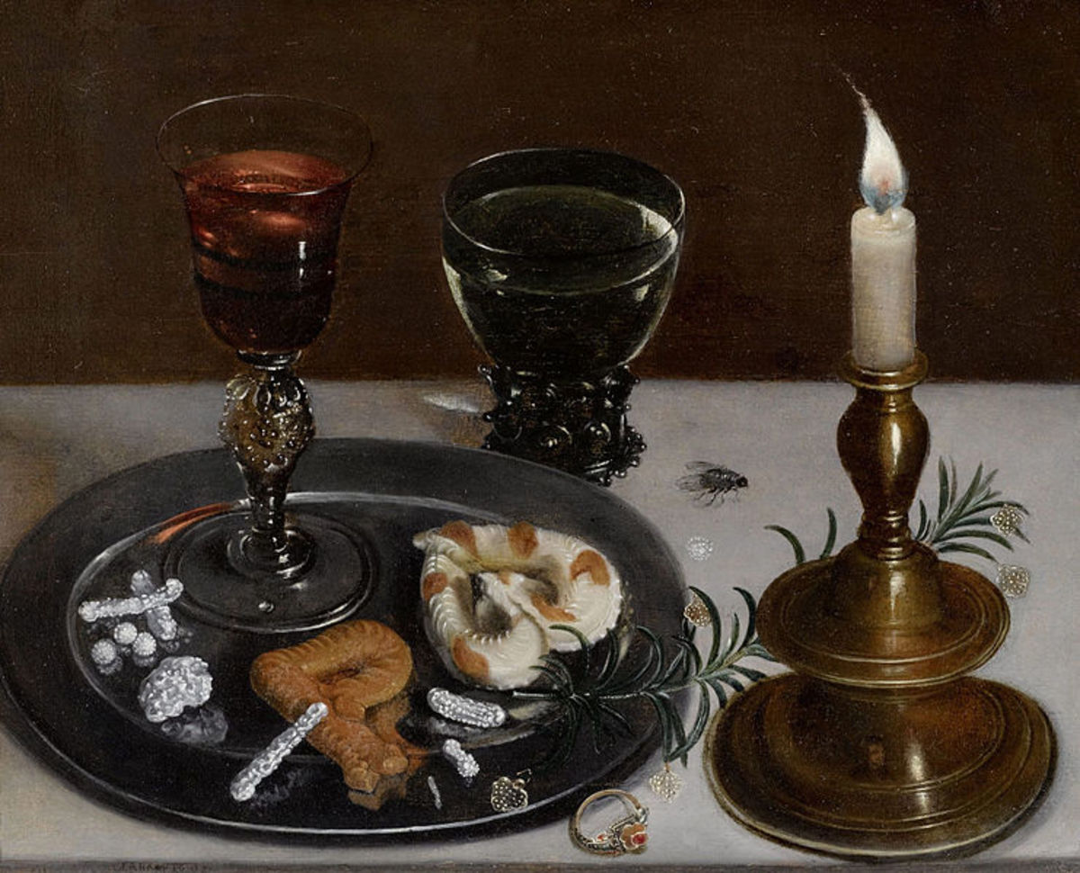 Still Life with Facon-de-Venise Glass, Jewelry, and a Candle is in the public domain in the United States and those countries with a copyright term of life of the author plus 100 years or less.
