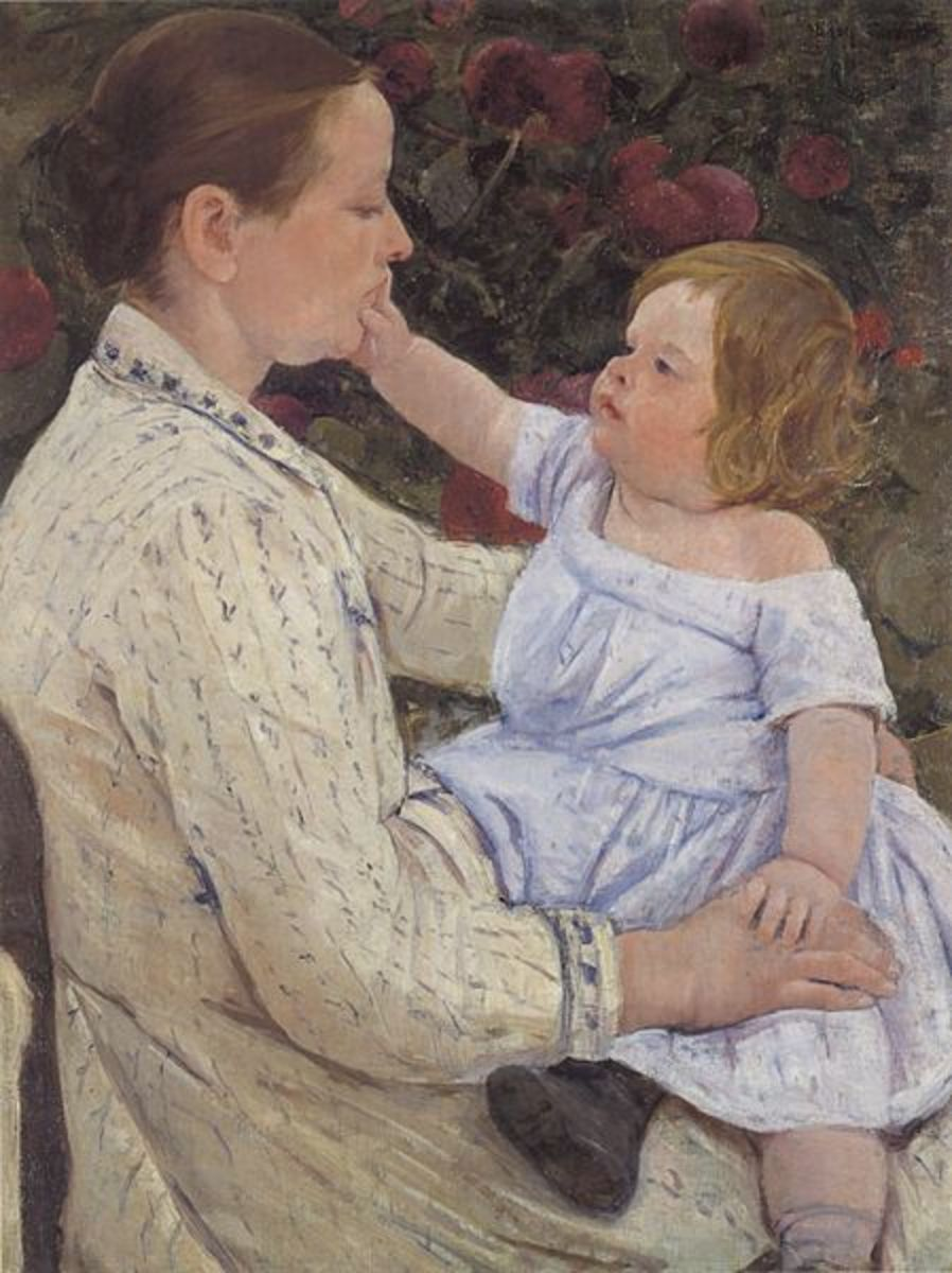 The Child's Caress (circa 1890) is in the public domain in the United States and those countries with a copyright term of life of the author plus 70 years or less.