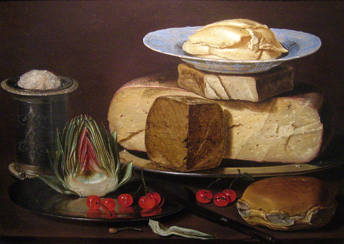 Still Life with Cheeses, Artichoke, and Cherries  was painted circa 1625.