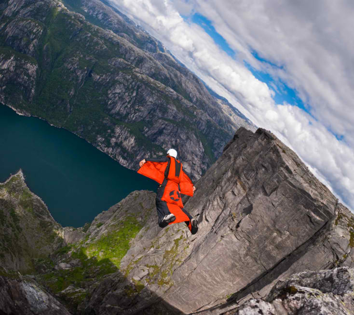 wingsuit flying in Kjerag, Norway