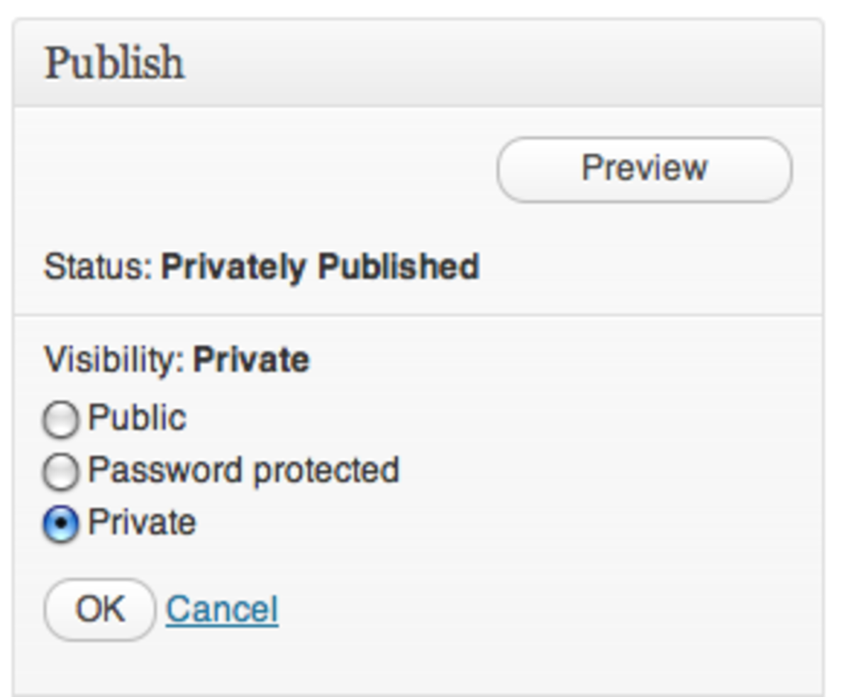 "Select ""Private"" to make sure that your new page won't be visible to others."