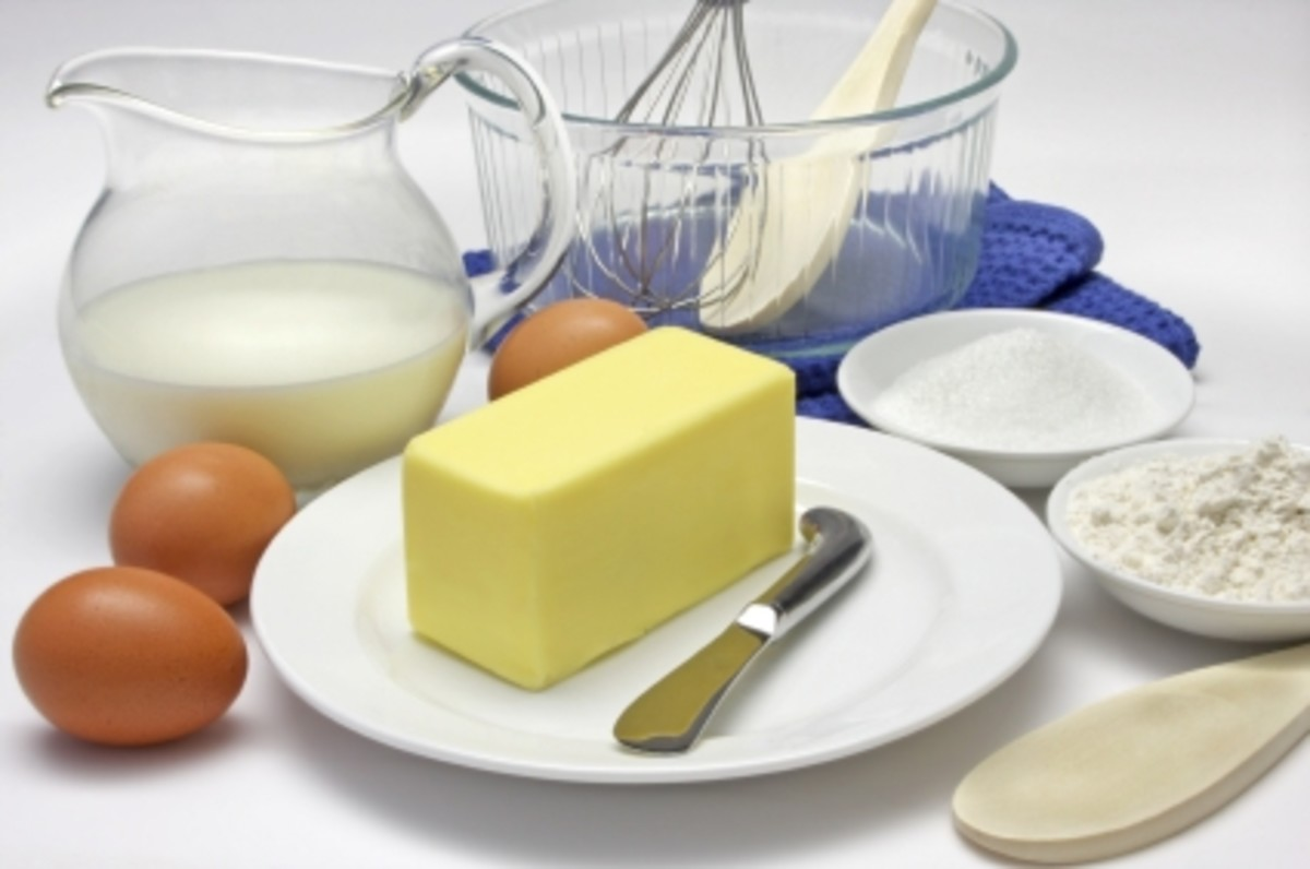 Butter, eggs, flour, and sugar! All you need for a basic cupcake!