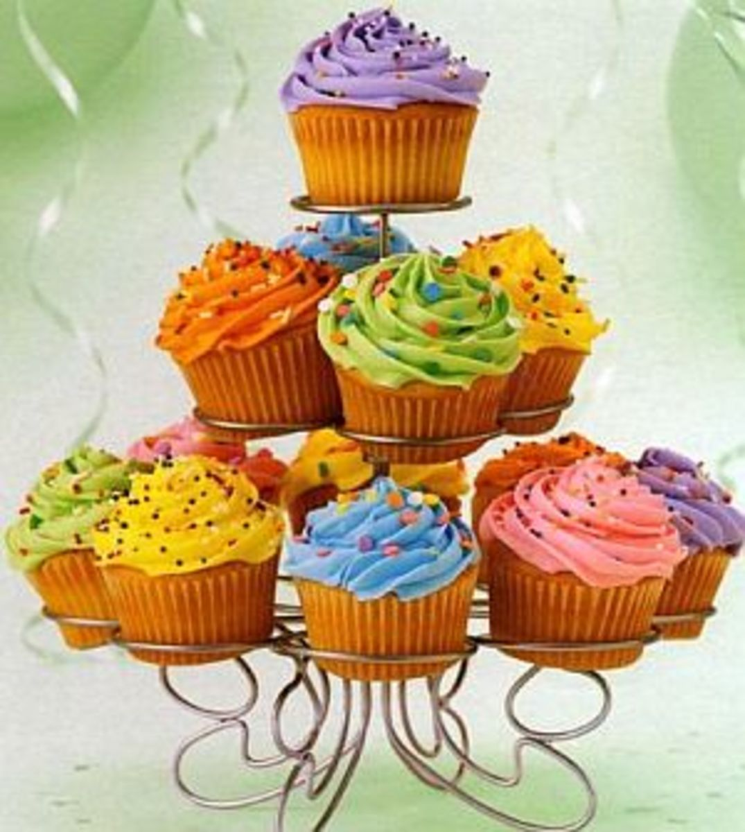 A beautifully designed cupcake tower!  They look almost too good to eat...almost.