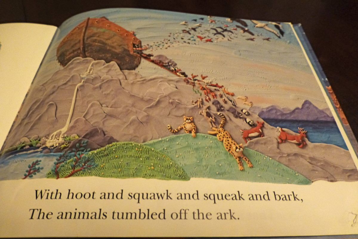 This page from Barbara Reid's Two By Two demonstrates her incredible skill with clay and with words, too.