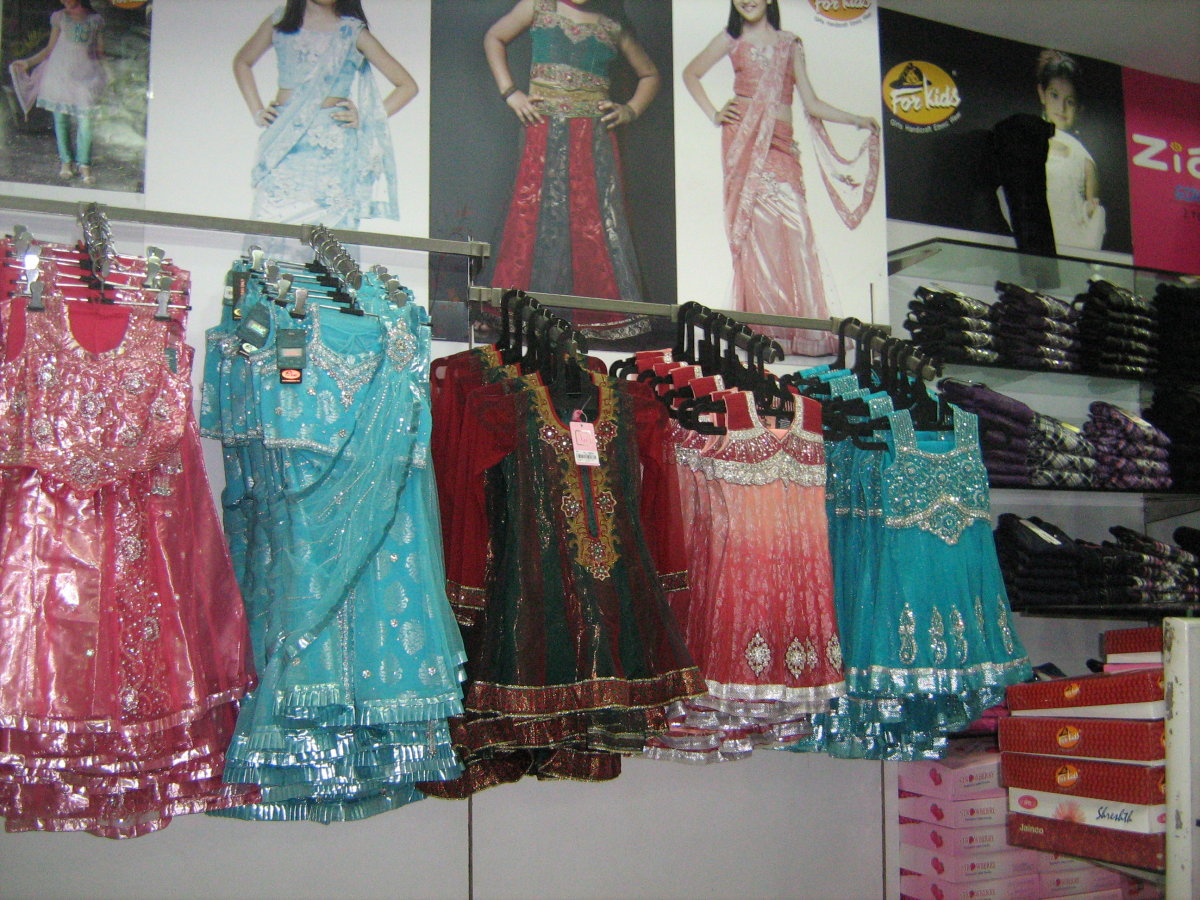 Traditional suits and lehangas on display at Rajouri Garden's outlet of Paul Garments.
