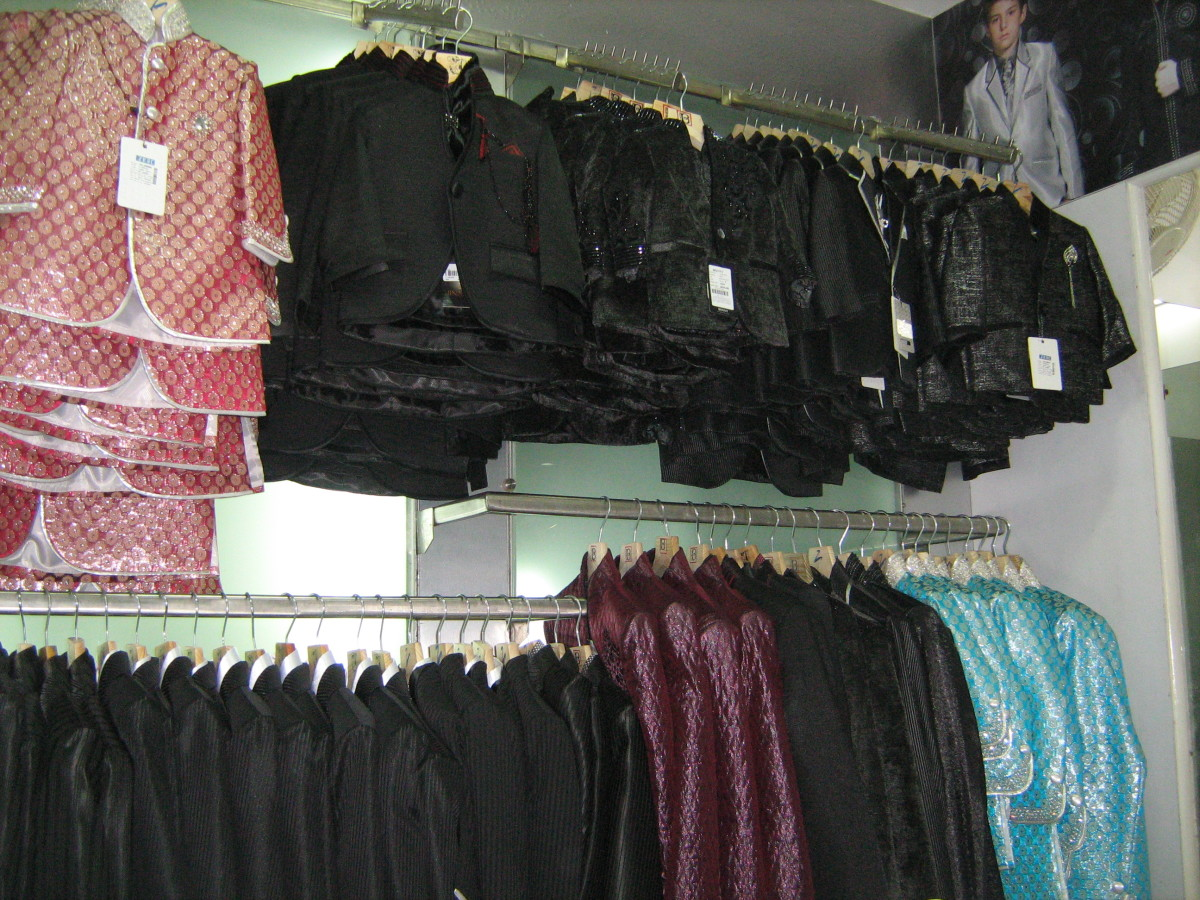 Unique suits and clothing for boys on display at Rajouri Garden's outlet of Paul Garments.