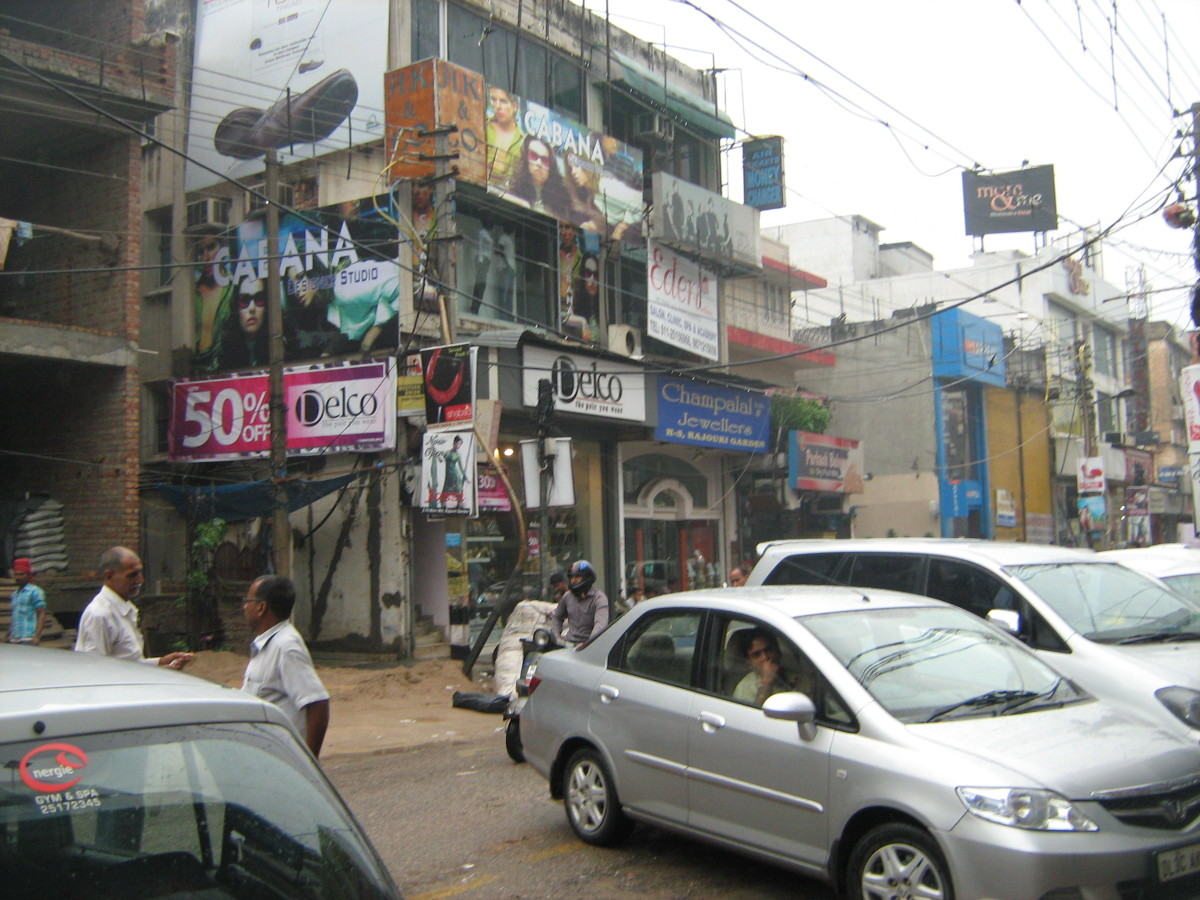 The busy streets of Main Market Rajouri Garden in New Delhi