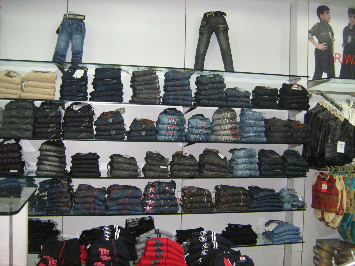 Paul Garments Rajouri Garden denim jeans and trousers section.