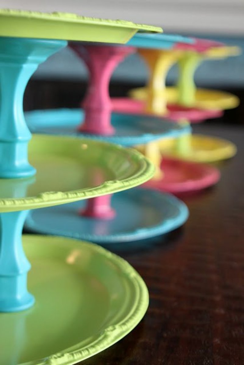 Colorful Tiered Trays