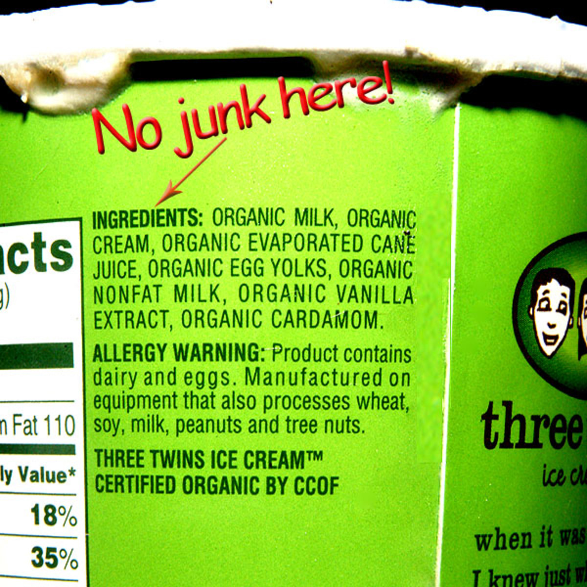 Three Twins Ice Cream™ Organic Ingredients Label