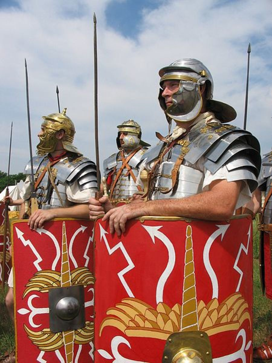 These reenactors are actually wearing Roman uniform dating from the first century AD. The soldiers that fought Hannibal wore bronze helmets and greaves, a sign of Greek influence.