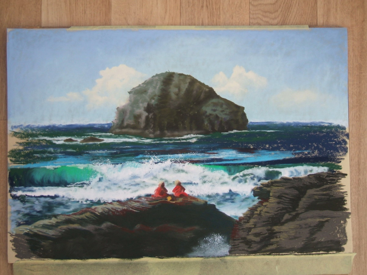 Lifeguards Relaxing At Trebarwith Strand, Cornwall.  Pastels on fisher 400 paper.