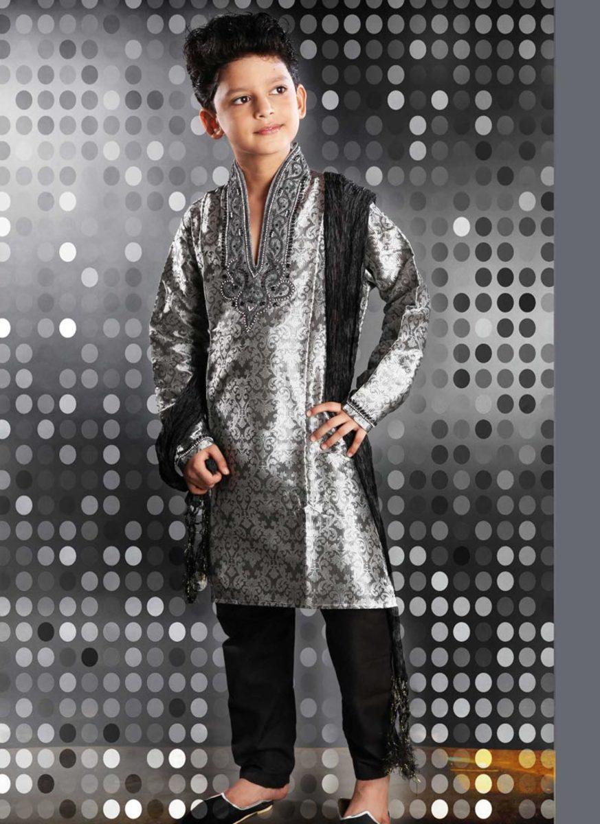 Grey Jacquard Kurta Pyjama for Diwali. Photo used with permission from Cbazaar.com