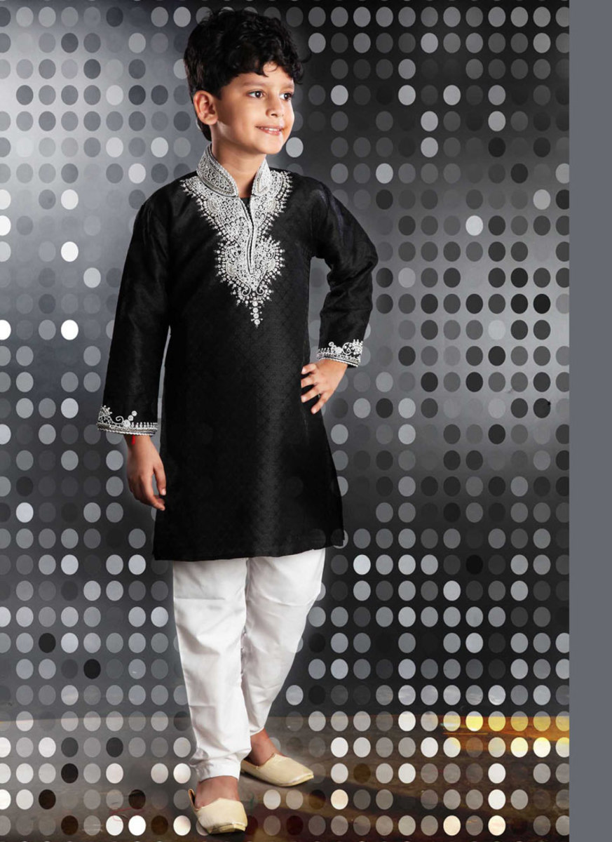 Black Jacquard Kurta Pyjama for Diwali. Photo courtesy of Cbazaar.com.
