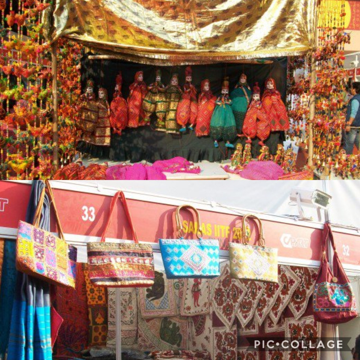 The colourful bags and puppets at the India International Trade Fair, New Delhi