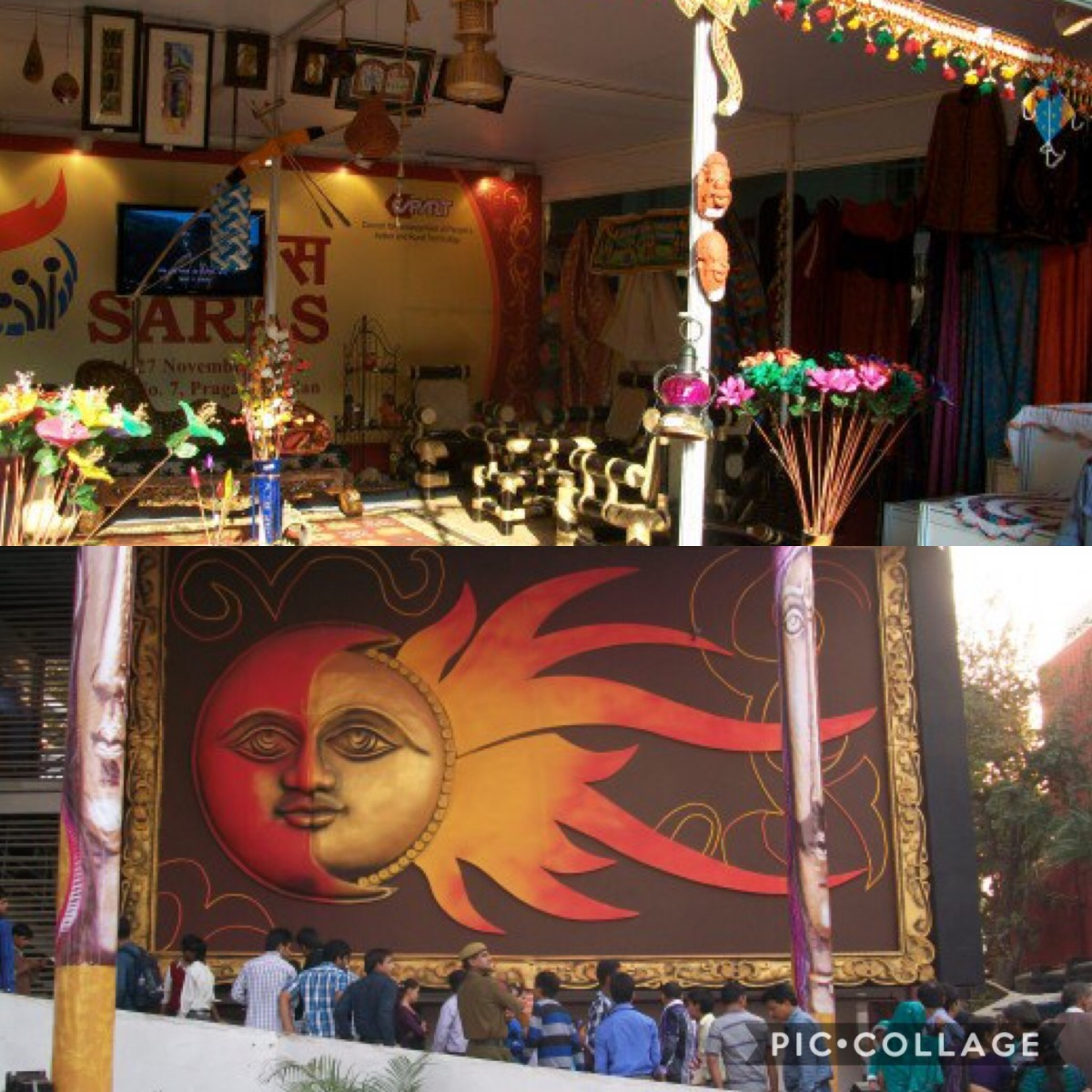 Glimpses of the art exhibition at New Delhi Trade Fair grounds, Bamboo furniture and Sun paintings