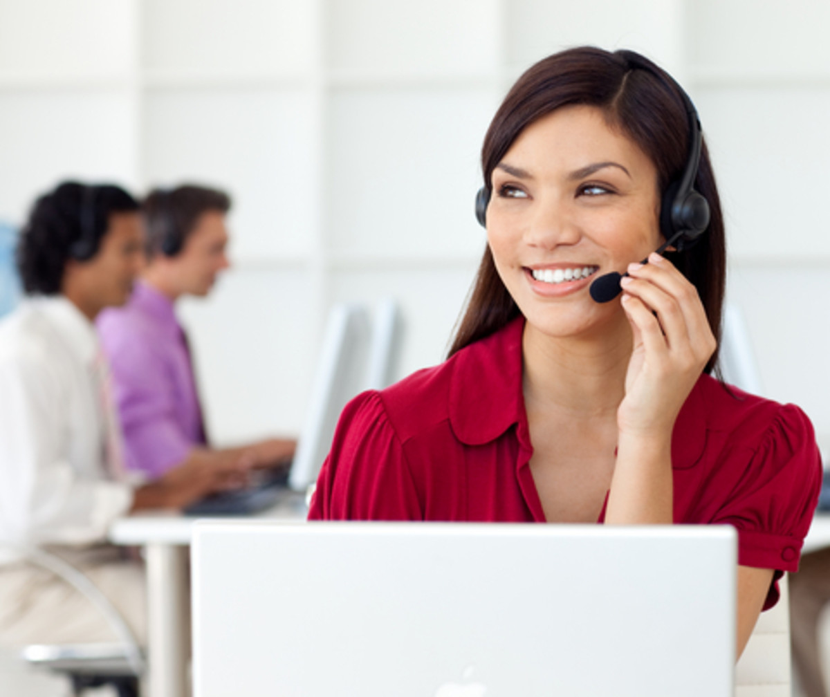A telemarketer building rapport with her  potential client.