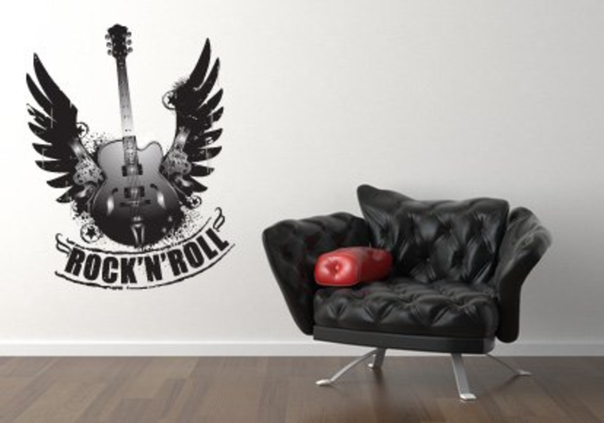 Rock and Roll Guitar Wall Decal Sticker Graphic By LKS Trading Post