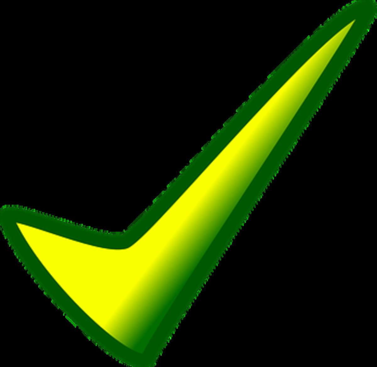 a check mark; a correct symbol