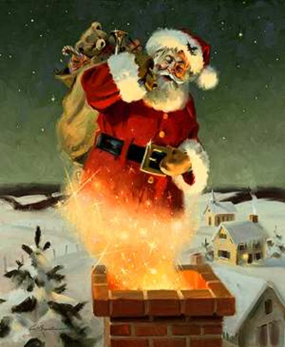 Santa Going Down Chimney Wallpapers