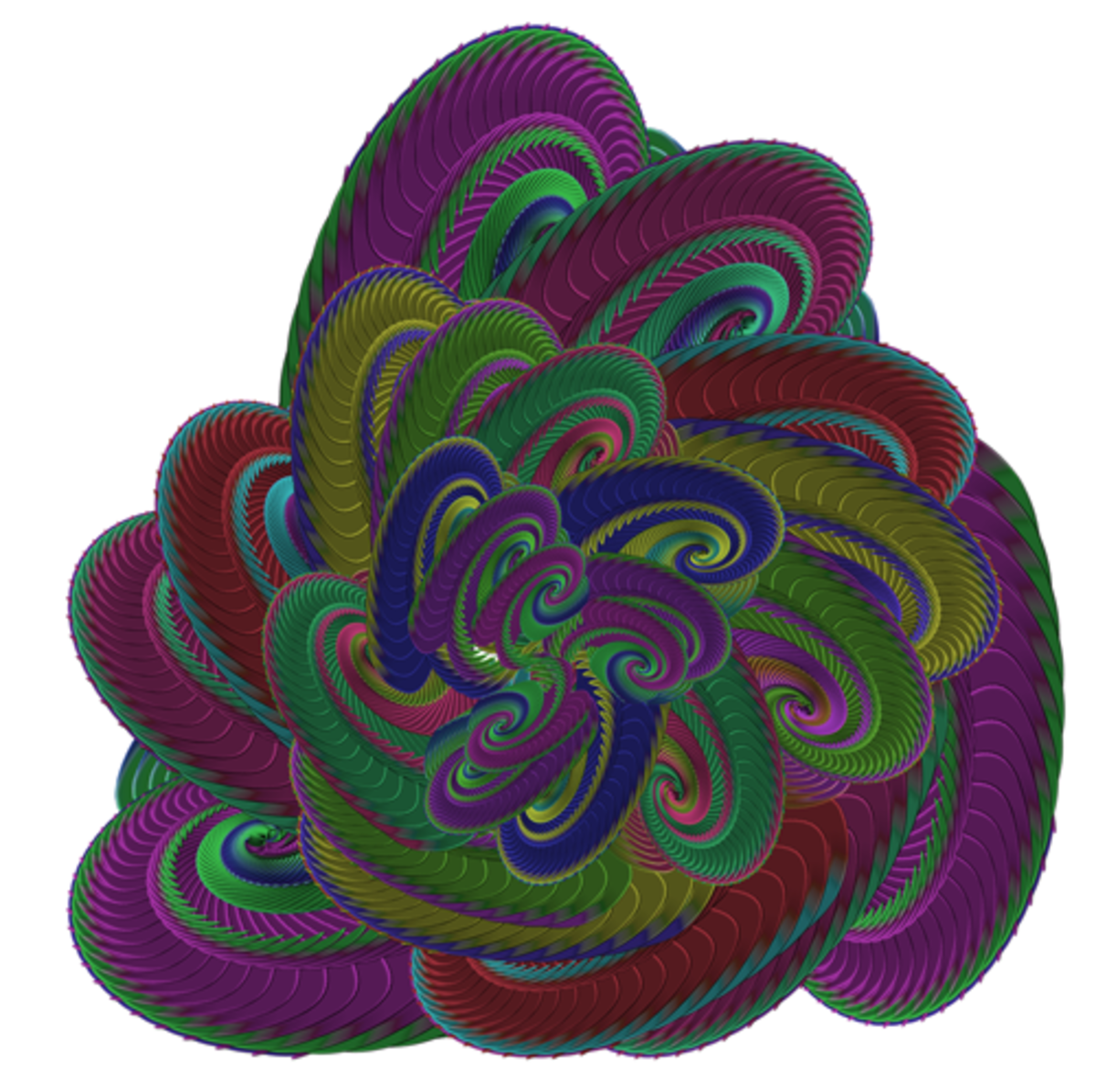 A 'coil of snakes' made by overlaying the pattern on the left while changing color
