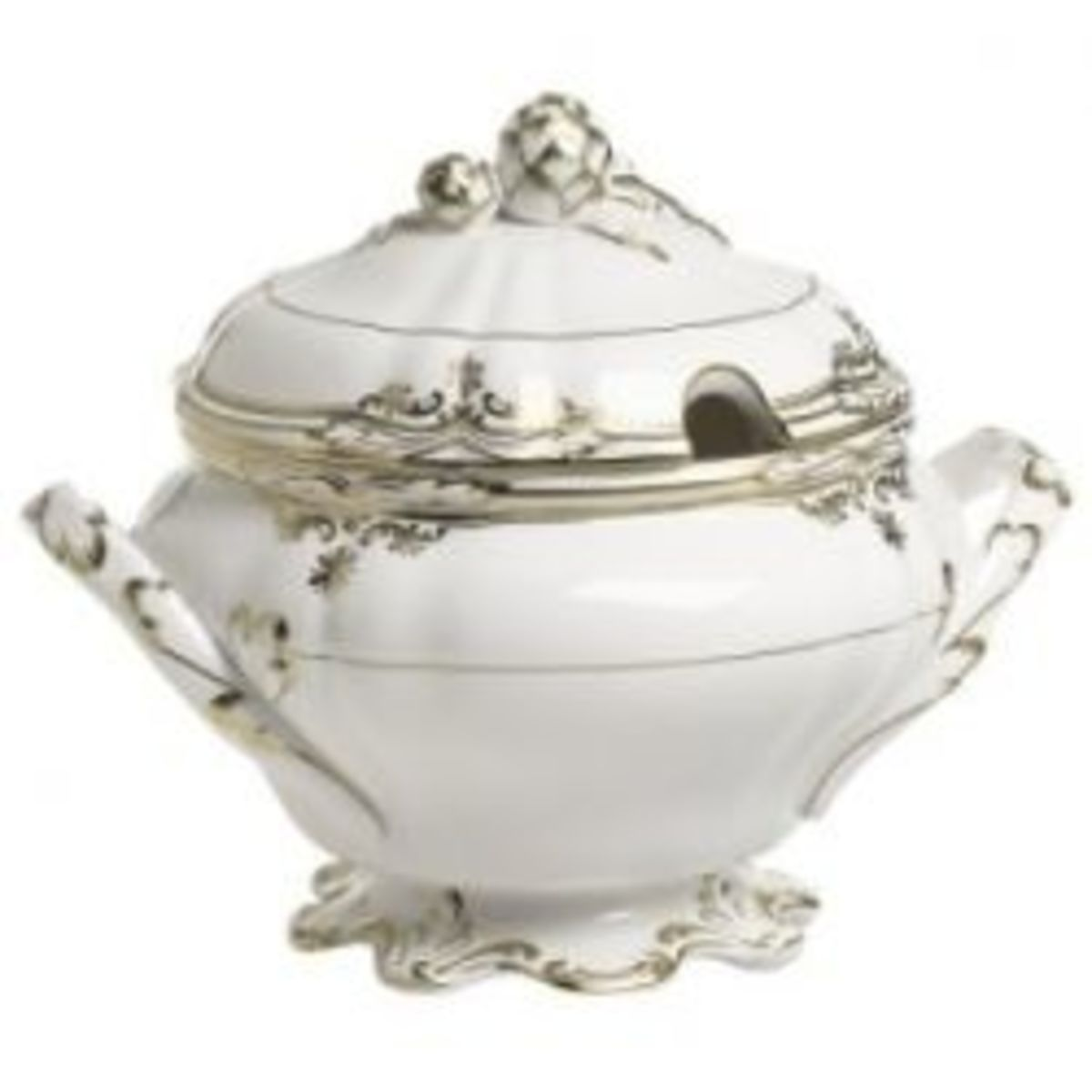 White porcelain with gold filigree accents is a Baroque style.