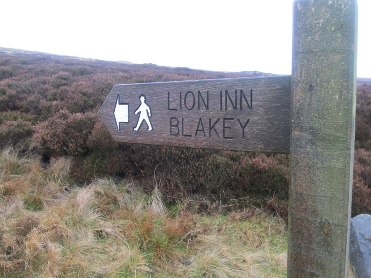 Waymarker to the Lion Inn, a welcome sight for long distance walkers - including Coast-to-Coasters and Lyke Wakers