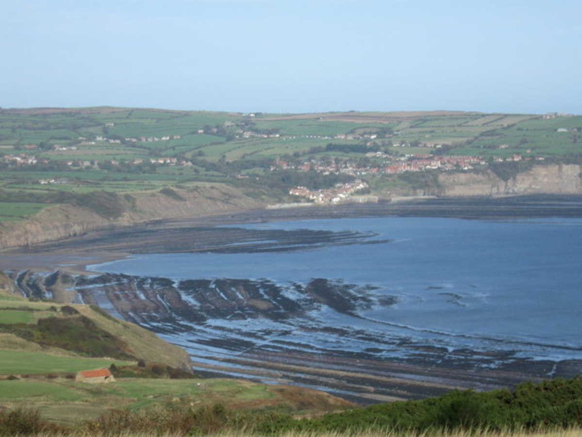 Robin Hood's Bay and Bay Town in the distance (Leo Walmsley's 'Bramblewick') seen from Ravenscar