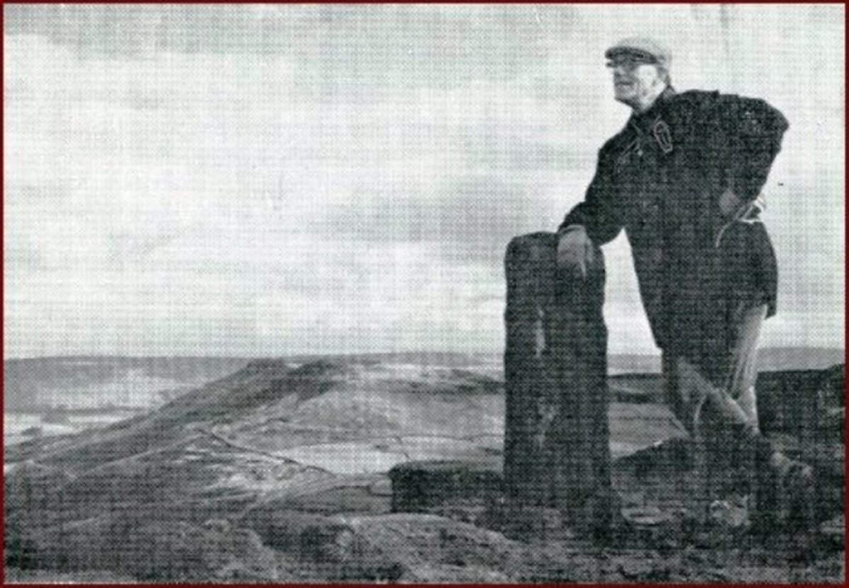 Pictured on Cringle Moor,gazing along the route of the Lyke Wake Walk, Bill Cowley (from his book below) leans on one of the many moorland waymarkers