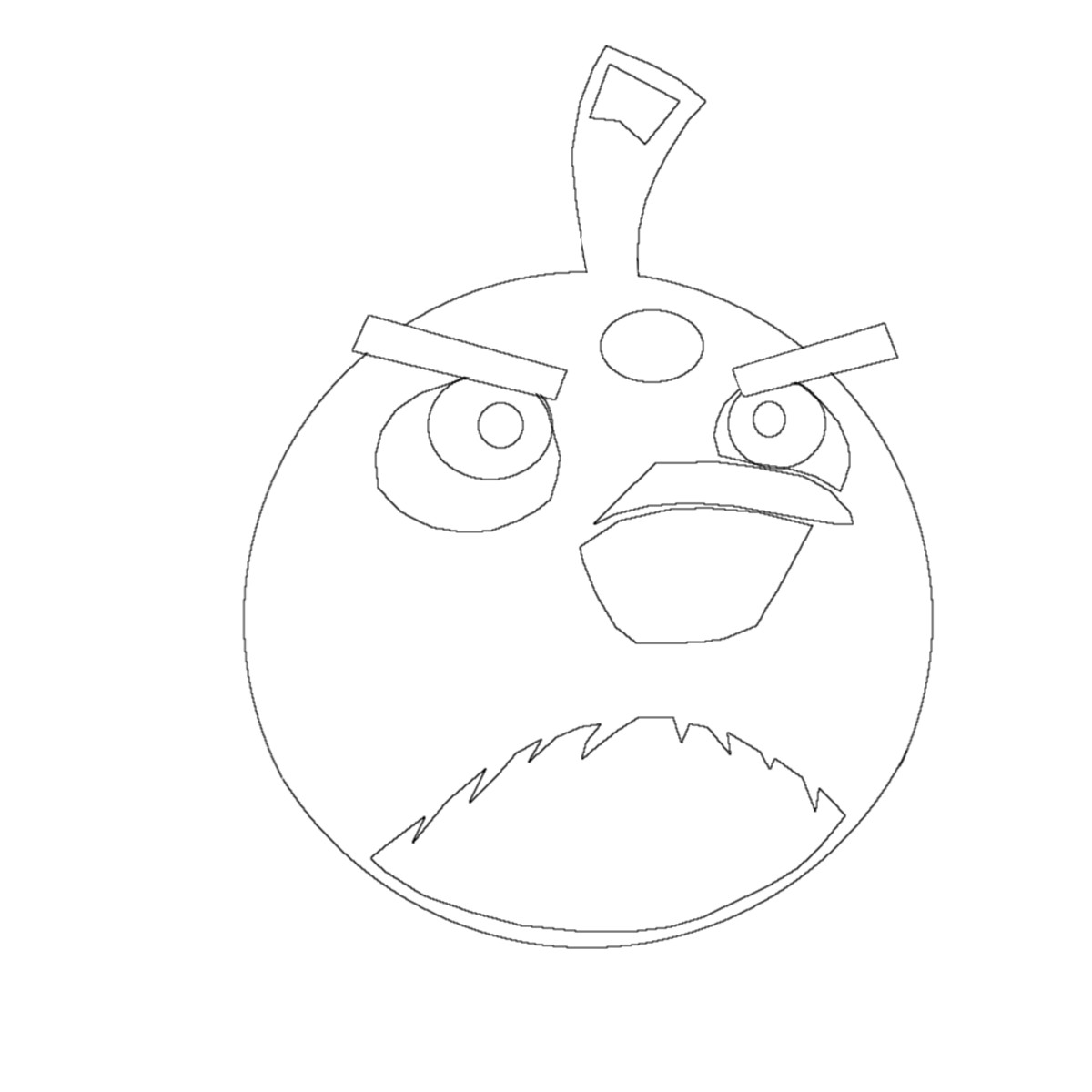 Angry Black Bird for tracing, printing for coloring in, useful when you have too many other things to do anyway.