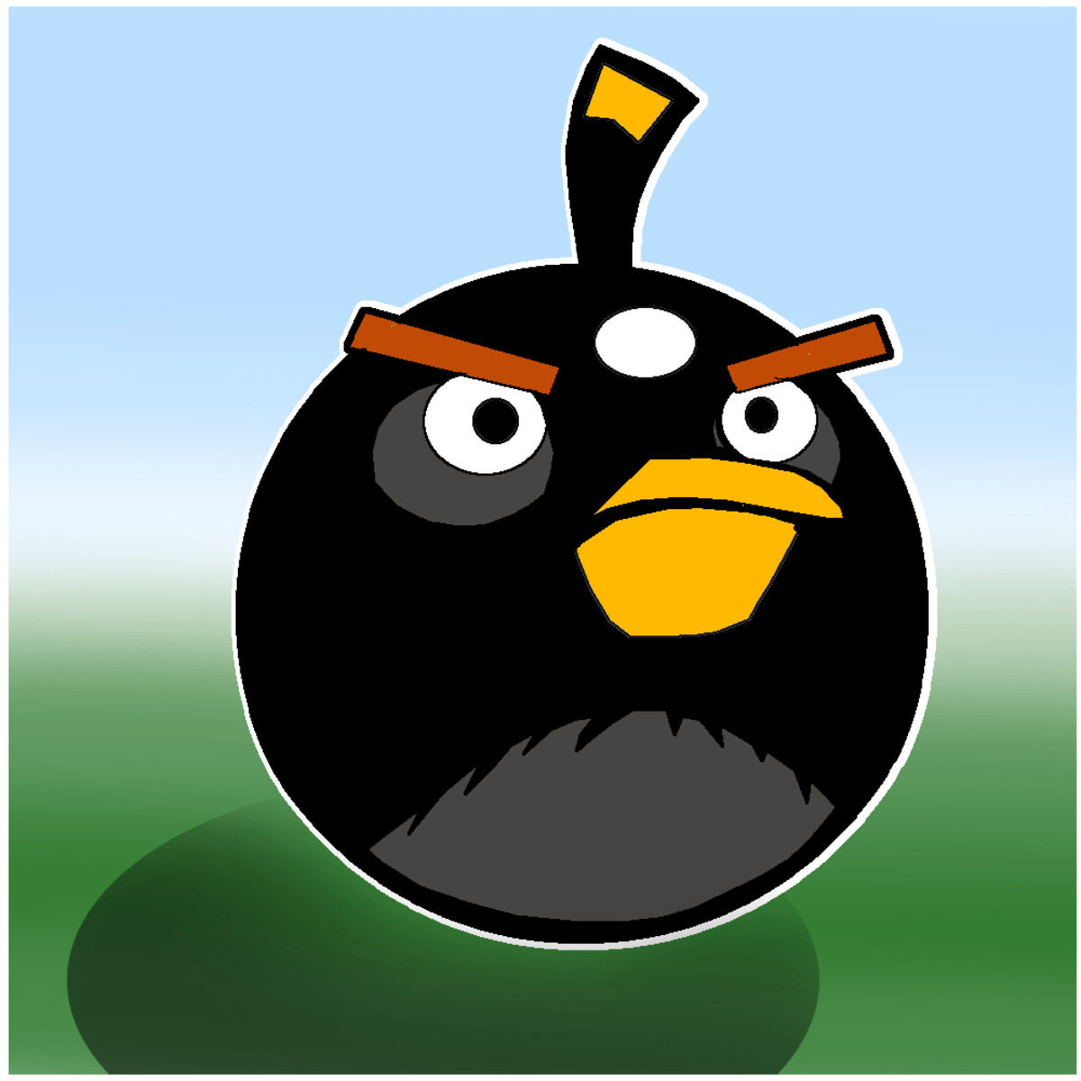 Black Angry Bird finished image.