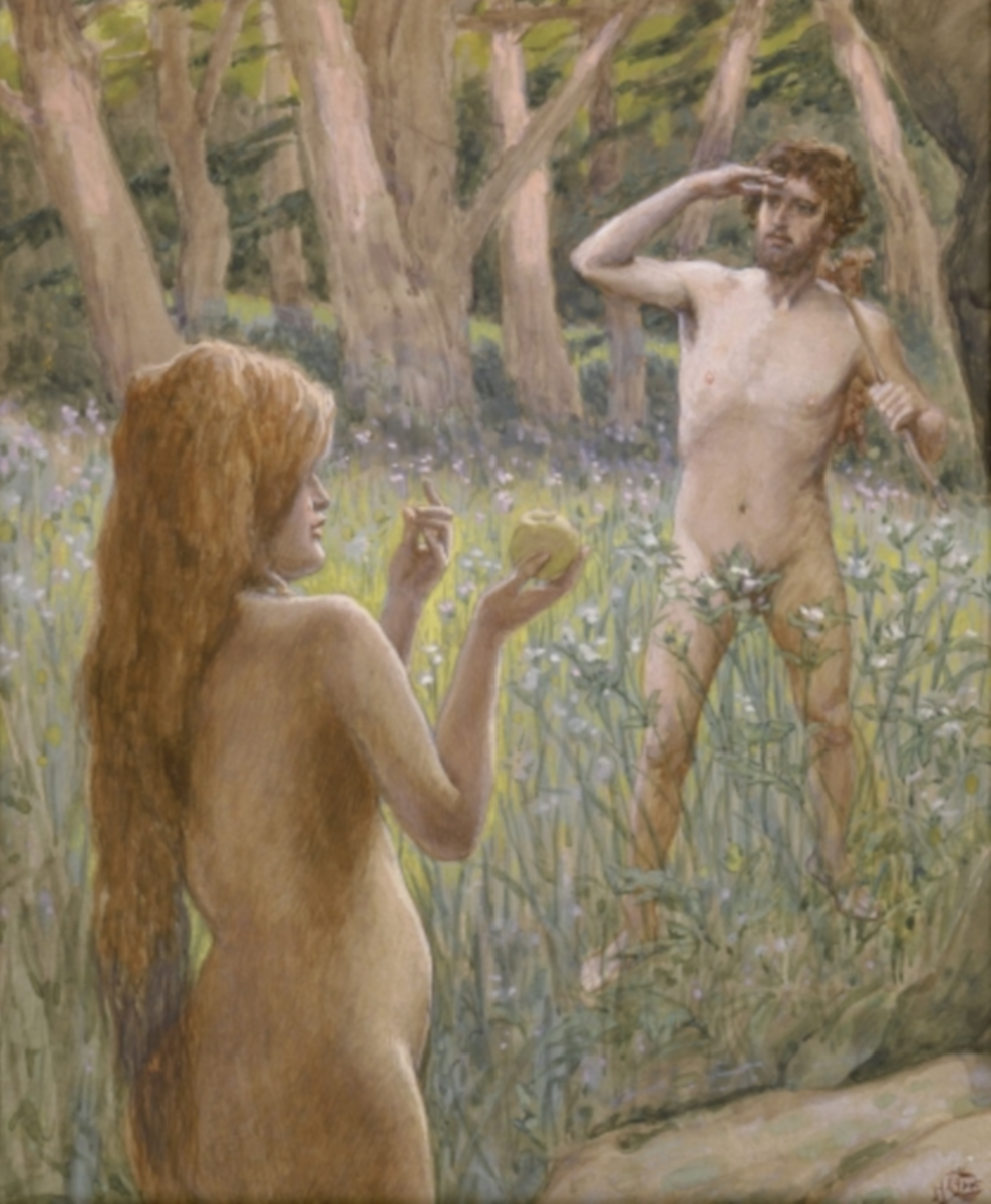 Adam Is Tempted by Eve, by James Jacques Joseph Tissot (French, 1836-1902), at the Jewish Museum, New York.