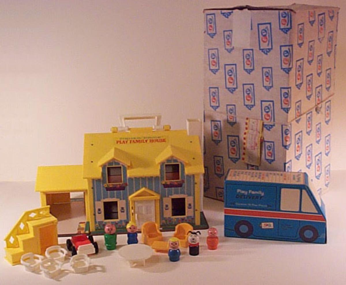 Original play family house with cardboard van