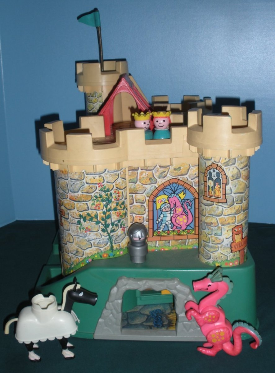 In front of the dragon's lair with the pink dragon, knight and his trusty steed.