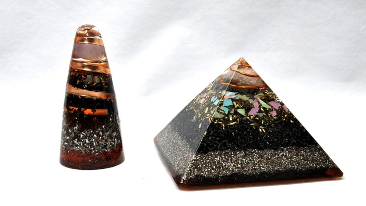 Examples of what orgonite looks like. As you see, it is not uncommon to have a metal spiral embedded within a piece