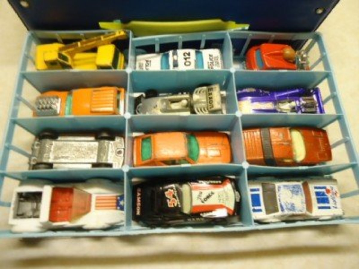 My brothers both owned a case filled with Matchbox cars, all they needed was cardboard tubes and they were occupied for the day.  Micro Machines came into our house a little later, but the commercials were awesome! Micro Machine Commercial Link Below