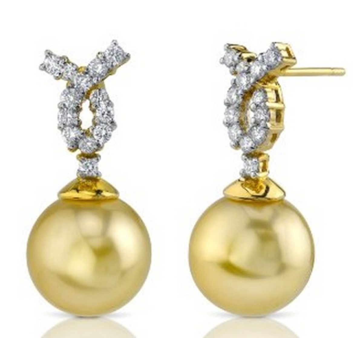 18k Gold, 47 carats Cross-over Pearl Earrings