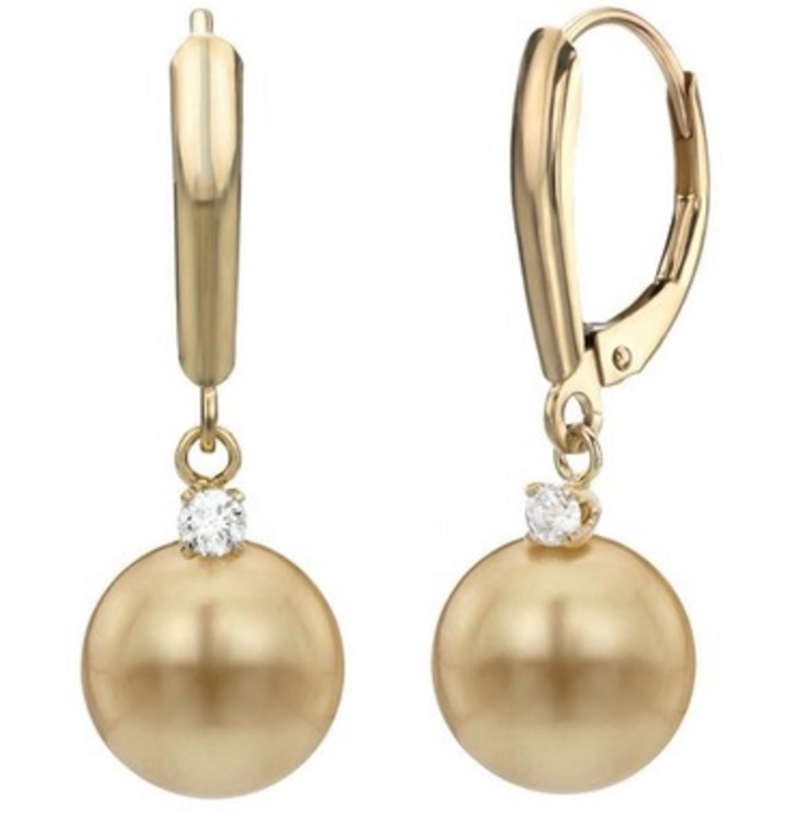 Cheaper lever-back golden South Sea pearl earrings