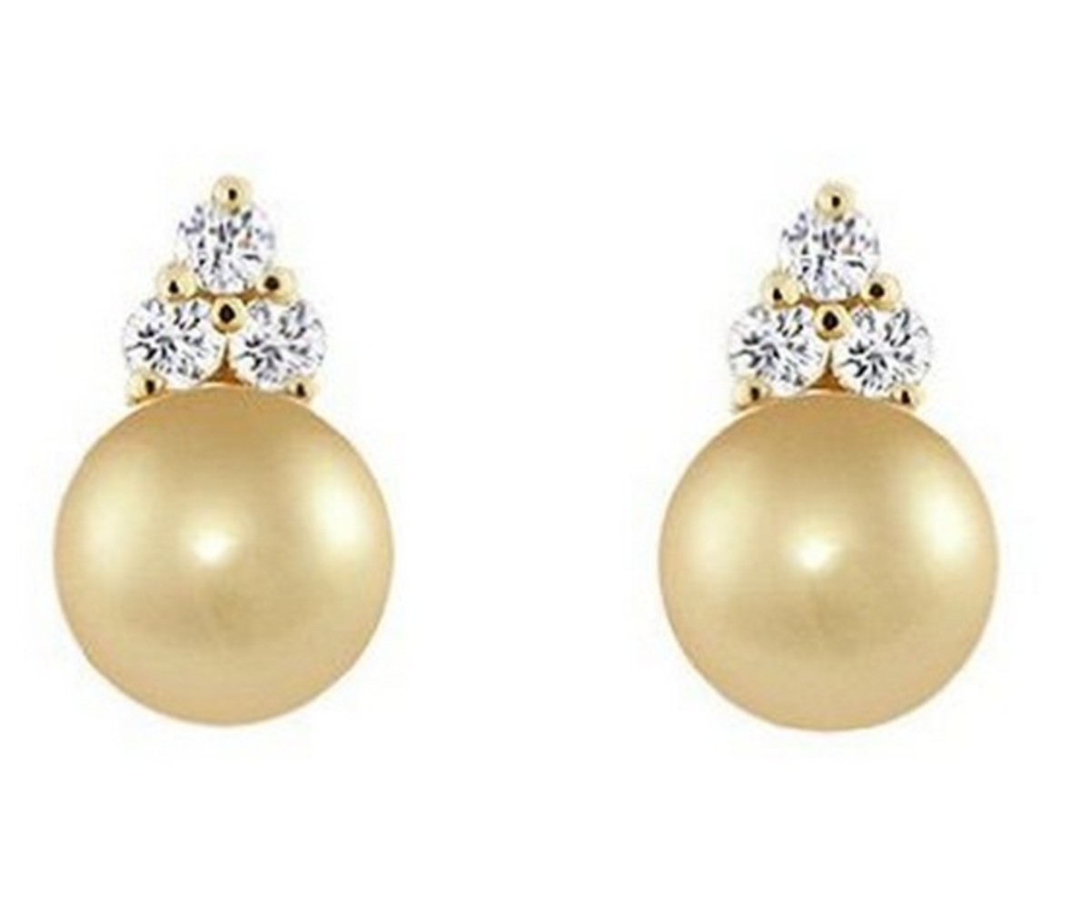 Golden South Sea Pearl Stud Earrings with Diamonds